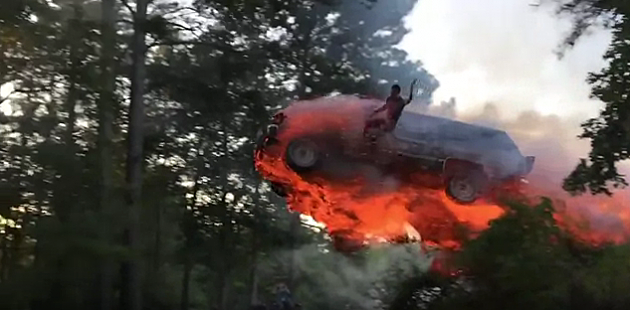 Watch A Dude Start His Suv On Fire And Jump It Into A Lake On